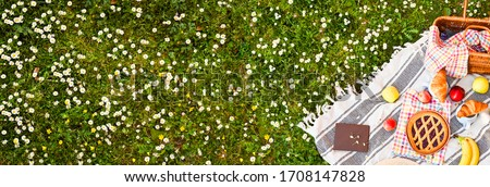Picnic basket on a plaid and a green meadow with flowers. Lunch sweet cake, croissants, drinks, fruits in the park on the green grass. Summer picnic background concept, Copy space. Banner. Soft focus