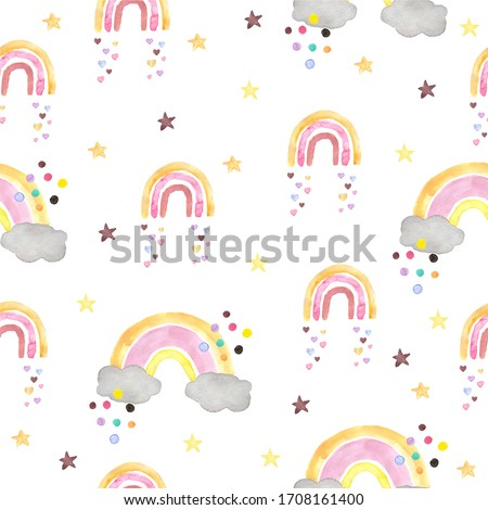Seamless pattern with watercolor rainbow in pastel colors with colorful circles, stars, hearts. Modern illustration on a white background. Design for children's textiles, decor for a children's room. #1708161400
