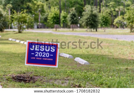 Blue Political Yard Sign that says JESUS 2020 Love Peace Compassion