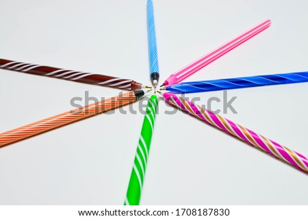 Colored pens isolated on white background #1708187830