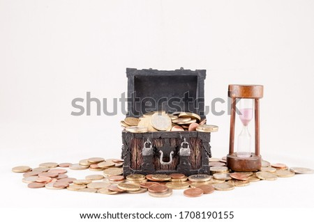 Picture of a Business Money Concept Idea, Treasure Trunk and Money
