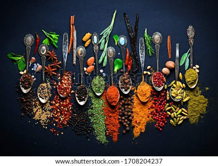 Advertising still live of spices Royalty-Free Stock Photo #1708204237