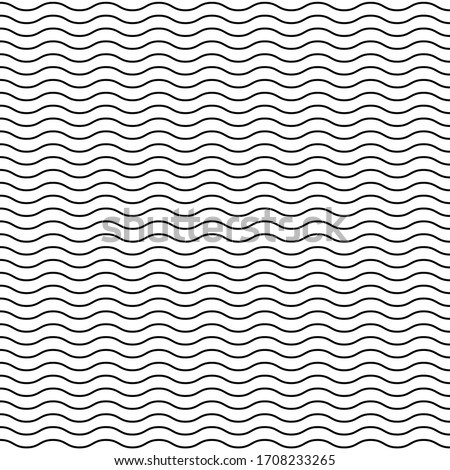 Seamless wavy line pattern. Black horizontal lines. Horizontally seamless. Vector illustration. Royalty-Free Stock Photo #1708233265