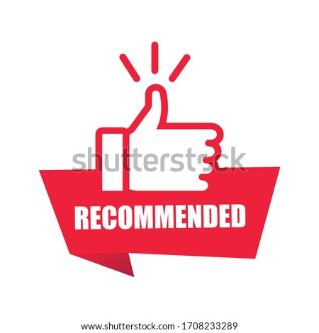 Red banner recommended with thumbs up. Sticker ribbon thumb up on white background. Vector illustration EPS10. #1708233289