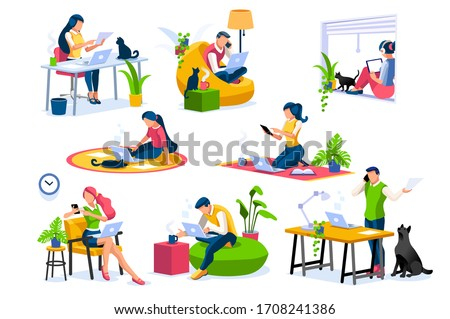 Trendy homes studio at woman home. Work on trendy computer in a young space working with style on laptop. Concept of working, woman isolation at home. Cartoon character on vector illustration concepts #1708241386