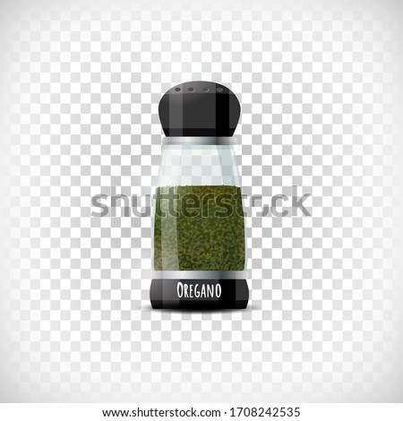 Transparent spice container icon. Oregano shaker mockup. Realistic effect. Lettering Oregano. Design element on transparent background. Vector illustration. #1708242535