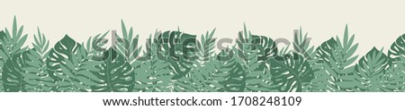 Tropical plant palm and monstera leaves border seamless pattern hand drawn green pastel colors on bright background. Vector illustration with isolated elements. #1708248109