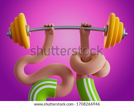 3d render boneless knotted cartoon hands hold heavy barbell, isolated on pink background. Weight lifting. Bodybuilding exercise. Extraordinary funny surrealistic clip art, unusual sport motivation
