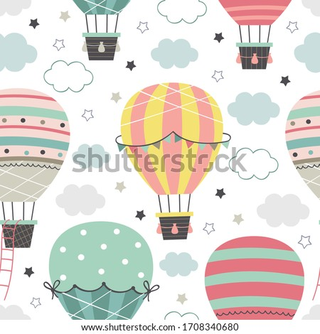 seamless pattern with Hot Air Balloon  flying in the sky on a white background   - vector illustration, eps     Royalty-Free Stock Photo #1708340680