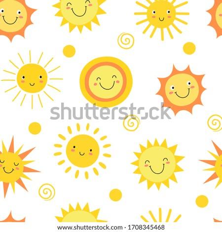 Sun seamless pattern. Summer hot weather sunshine heat funny. Doodle sun endless texture