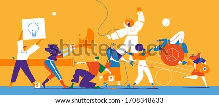 A group of young eccentric female and male characters  express their creativity Royalty-Free Stock Photo #1708348633