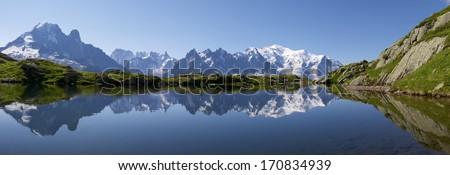 Mont Blanc reflected in Cheserys Lake, Mont Blanc Massif, Alps, France #170834939