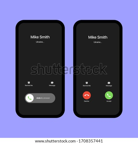 iPhone Call Screen Set. Interface. Slide To Answer. Accept Button, Decline Button. Incoming Call. iPhone iOS Call Screen Template. Smartphone, Phone Call Screen Vector Mockup On Violet Background #1708357441