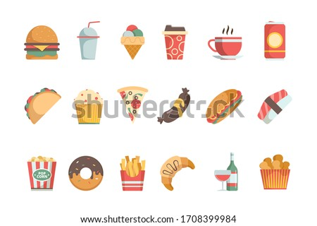 Fast food flat icons. Sandwich burger cold drinks ice cream pizza hamburger food menu symbols