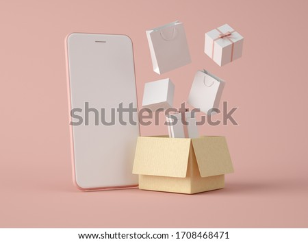 3D Illustration. Smartphone with white blank screen and carboard box with gifts. Shipping service. Shopping online and e-commerce concept.