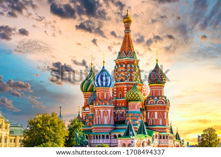 St. Basil's Cathedral ancient architecture on Red Square in Moscow City, Beautiful ancient architecture building in Moscow City, St. Basil's Cathedral church Cathedral of Vasily the Blessed, Russia. #1708494337