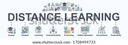 Distance learning banner web icon for self development, course, teacher, study, e-learning, training, skill, online education, continuing education and knowledge. Minimal vector infographic. #1708494733