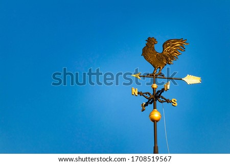 Golden weathercock shining in the blue sky #1708519567
