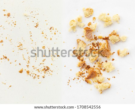 Bread crumbs isolated on white background.  Crumbs view from above. Flat lay #1708542556