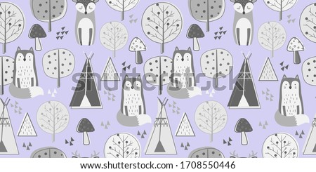 Animals repeat pattern. Nursery art background. Children's fabric pattern design. #1708550446