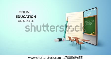 Digital Classroom Online Education internet and blank space on phone, mobile website background. social distance concept. decor by book pencil eraser Student desk table chair. 3D vector Illustration. #1708569655