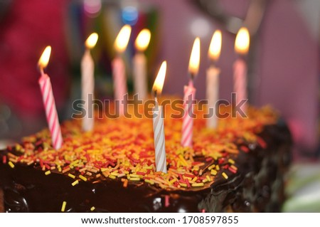 Chocolate Cake with eight Candles