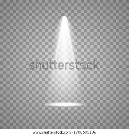 Spotlight on stage. Volume light on transparent background. Royalty-Free Stock Photo #1708605106