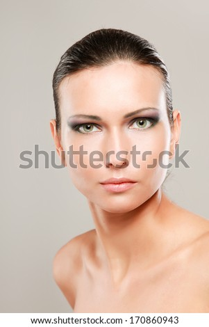 Portrait of beautiful woman, isolated on beige background #170860943