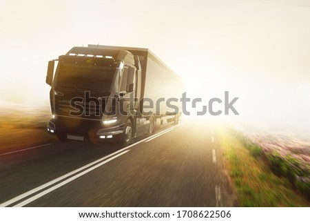 Truck on foggy country road (3D Rendering) #1708622506