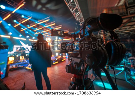 preparation for shooting a concert on television Royalty-Free Stock Photo #1708636954