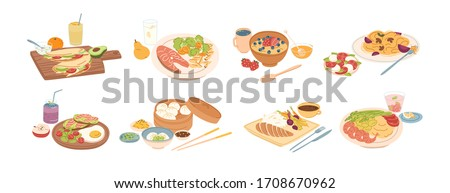 Set of different breakfast, lunch and dinner isolated on white background. Collection of cartoon appetizing fresh food and drink vector graphic illustration. Tasty colorful serving dish #1708670962