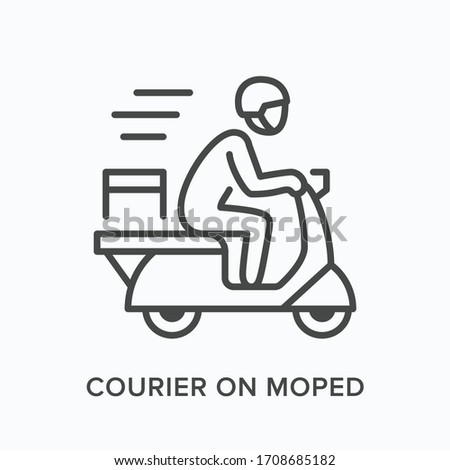 Courier on moped line icon. Vector outline illustration of express delivery. Scooter pizza guy pictogram Royalty-Free Stock Photo #1708685182