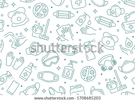 Disinfection seamless pattern. Vector background included line icons as aerosol, sanitizer, wet cleaning, protection mask pictogram for antibacterial housekeeping #1708685203