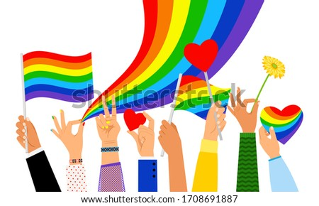 Lgbt hands. Hand holding pride flag or transgender sign isolated on white background, illustration