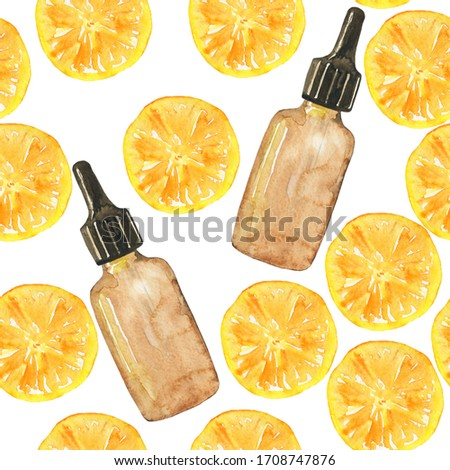 Seamless pattern essential oil of orange fruit in glass brown bottle on white background. Watercolor hand drawing illustration. Clip art for medicine, healthy food, covers, cards.