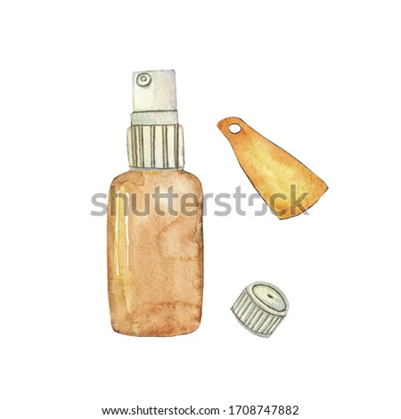 Glass brown spray bottle  for essential oil with cap isolated on white background. Watercolor hand drawing illustration for cosmetic design. Clip art.