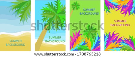 Set of four backgrounds with copy space for text, summer landscape, background for banner, greeting card, poster and advertising-summer holiday concept, vector graphics #1708763218