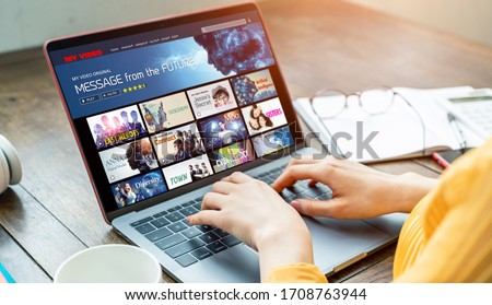 Interface of video distribution service. Subscription service. Streaming video. communication network. #1708763944