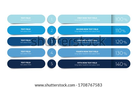 Table, schedule design template with 5 row. Vector banner. Royalty-Free Stock Photo #1708767583