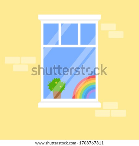 Rainbow drawing in the window, symbol of hope during Covid-19 outbreak and world pandemic. Stay at home for coronavirus prevention, quarantine will end soon. Vector illustration #1708767811
