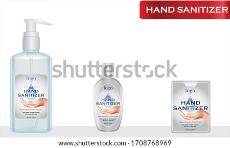 Hand sanitizer label design vector graphic template for packaging design. #1708768969