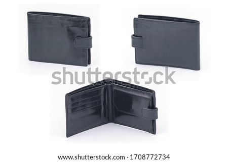 Black leather mens wallet with many pockets and compartments for credit and discount cards. Classical model. Wallet on white background. #1708772734