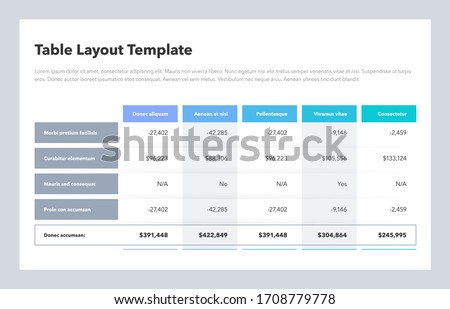 Modern business table layout template with the total sum row and place for your content. Flat design, easy to use for your website or presentation. Royalty-Free Stock Photo #1708779778