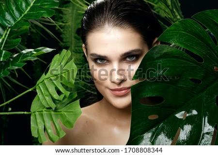 Woman Palm Exotic Makeup Smile #1708808344