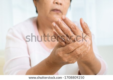 hand pain of old woman, healthcare problem of senior concept #1708809250