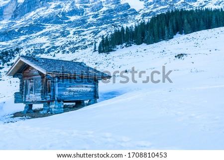 Winter landscape with snow covered peaks on Kleine Scheidegg mountain in Swiss Alps near Grindelwald, Switzerland #1708810453