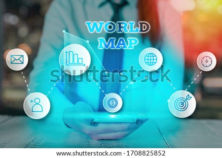 Conceptual hand writing showing World Map. Business photo showcasing a diagrammatic representation of the surface of the earth. #1708825852