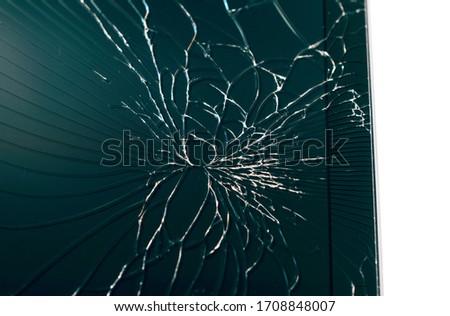 close up of broken tablet screen