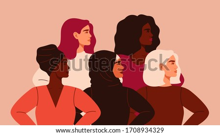 Five women of different nationalities and cultures standing together. Friendship poster, the union of feminists or sisterhood. The concept of gender equality and of the female empowerment movement. Royalty-Free Stock Photo #1708934329