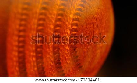 Closeup / macro photography of orange glass lamp texture - Illuminated background